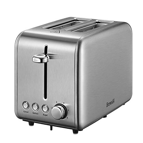 Brewsly 2-Slice Toaster, Extra-Wide Slot Toaster with Bagel, Defrost, Cancel Function, 6-Shade Setting, Removable Crumb Tray, 18/10 Stainless Steel, 900W