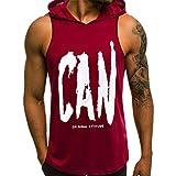 Été Tank Top Homme Debardeur a Capuche Homme Muscle Impression Sport Gym Fitness Casual Hauts à séchage serré Tee Shirt sans Manche Homme Musculation