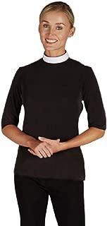 Women's Short Sleeve Jersey Knit Clergy Shirt - Tab Collar, BLACK, LARGE