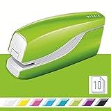 Leitz 55661054 Grapadora eléctrica, capacidad de 10 hojas, funciona con batería, gama WOW, verde