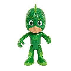 "Nighttime is the right time to fight crime with the PJ Masks Talking Gekko Figure. PJ Masks Talking Gekko Figure stands 6"" tall. Press Gekko's hero amulet to hear him say fun phrases from the show! Gekko is poseable so you can move him into dynamic a..."