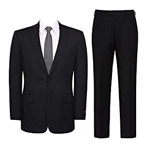 Pio Lorenzo Men's Suit 2-Piece Classic Fit Solid Color Single Breasted 2 Buttons Jacket Dress Pants