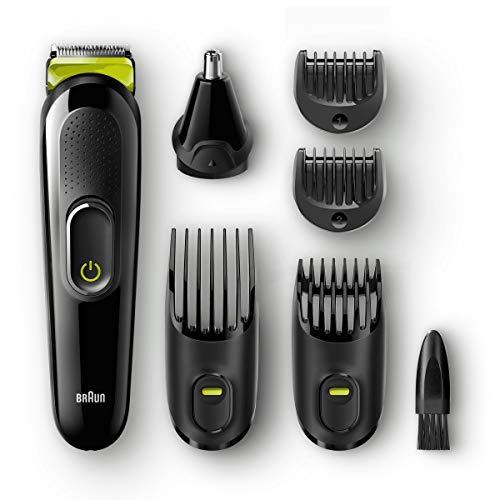 Braun Tondeuse 6-En-1 Tout-En-Un MGK3021 - Tondeuse à cheveux et barbe, Tondeuse Nez Et Oreilles, Noir/Vert