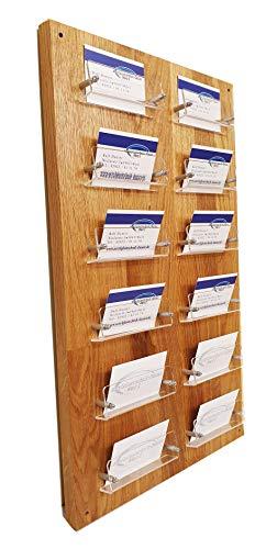 12-Fach Visitenkarten Wandhalter aus Acrylglas und EICHE Holz