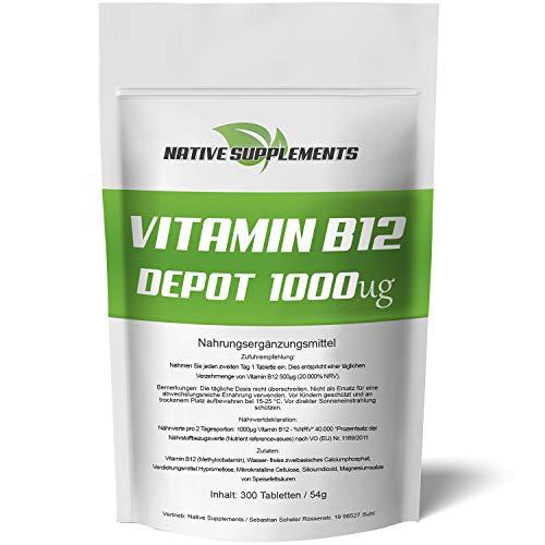 300 Tabletten - Vitamin B12 Depot - XXL Big Pack- Best Preis Garantie - Original Native Supplements Produkt - Hochdosiert und Vegan - Aktives Methylcobalamin - Reines B 12 - Superfood Komplex