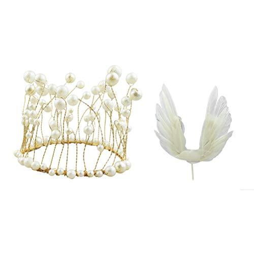 VOSAREA 2pcs Decoración de Pastel de cumpleaños Alas de ángel Corona Pastel Topper Cupcake Topper para cumpleaños Fiesta de Bienvenida al bebé de la Boda (Fringe Crown + Alas de ángel)