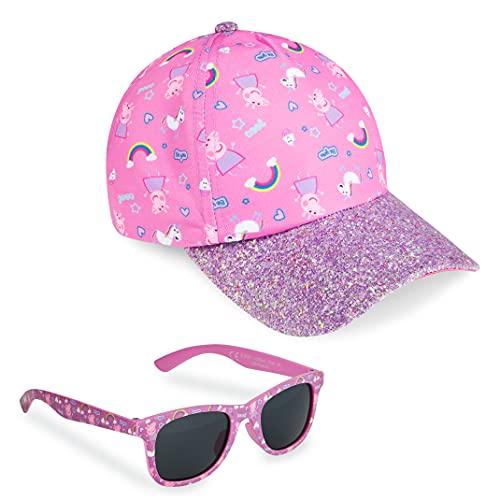 Peppa Pig Peppa Wutz Sonnenhut Mädchen, Basecap Kinder Mädchen und Sonnenbrille Set, Sonnenhut Kinder Mädchen ab 3 Jahren, Einheitsgröße