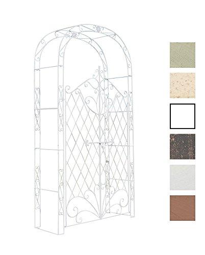 CLP Arco De Jardín con Puerta Melissa I Enrejado con 2 Puerta para Plantas Trepadoras I Entrada Jardín En Forma De Arco para Flores I Color: Blanco