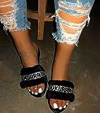 ZYLL 2020 Home Moda Capelli Selvaggi di Inverno dei Pistoni Nuovo Luminoso Diamante Caldo Sandali Femminili Infradito Piatto con Interni Pantofole,Nero,37