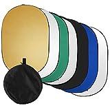 Flytise 60 * 90 cm / 24 * 35 Zoll Fotogre-Licht 7-in-1 (durchschend, Silber, Gold, weiß, schwarz, grün, blau) Zusammenklappbare Multi-Disc für Studio-Außenaufnahmen mit Tragetasche
