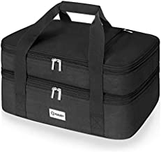"""Poruary Double Casserole Carrier for Hot or Cold Food,Expandable Insulated Bag,Perfect Lasagna Holder Tote for Potlucks, Picnics,Beaches,Traveling or Gifts,Fits 9""""x13"""" Baking Dish,Black"""