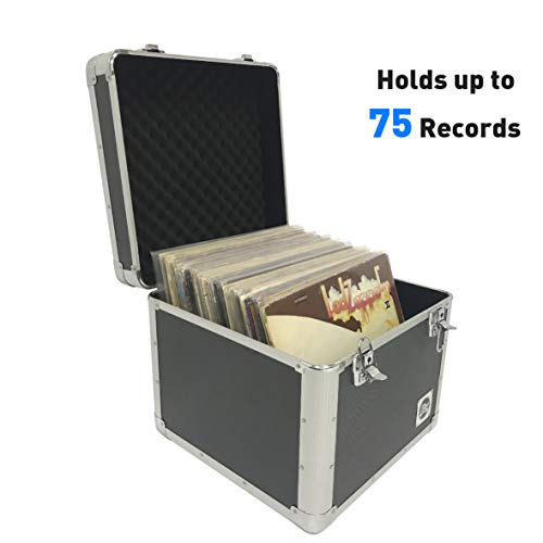 Classic Acts Vinyl Record Album Storage Case – Aluminum Lp Record Player Crates for Records (Holds 75 Records)