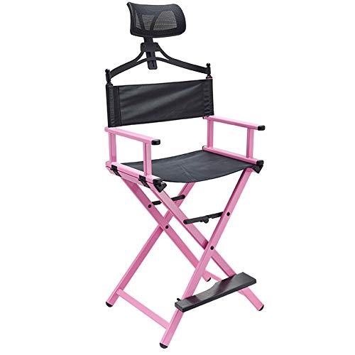 ZOYOL Chaise de coiffeur professionnelle de 142,2 cm - Pliable - En aluminium léger - Avec repose-tête - Rose