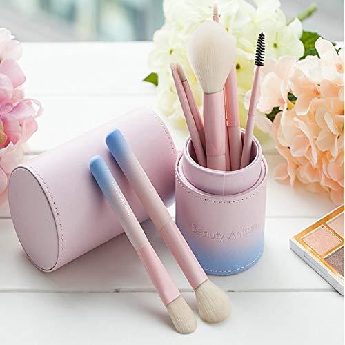 LUGJ Ensemble de pinceaux de maquillage portable multifonction pour débutants, eyeliner, cernes, cosmétiques, fond de teint, poudre, blush, pinceau de nettoyage