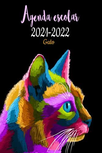 Agenda escolar 2021-2022 gato: agenda escolares 2 días por página 2021-2022 a5-negro/ español- calendario,diaria y mensual , para estudiantes primaria Colegio secundaria