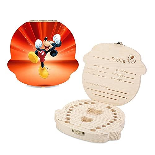 Caja de dientes para niños de Mickey Mouse Minnie Lindo de madera para recuerdos de los dientes, guardar recuerdos de la infancia