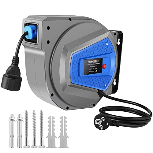 Himimi Enrouleurs automatiques de câble 15m + 1m, 1500W rallonge electrique, enrouleurs de câbles 180 ° pivotant latéralement pour montage mural électrique bricolage tambour de câble