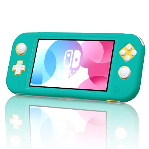 Silicone Case for Nintendo Switch Lite with Tempered Glass Screen Protector - Turquoise