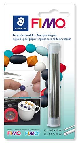 Staedtler - Fimo Accessoires - Tube 50 Aiguilles à Percer les Perles - 0,8 et 1,7 mm - Sous Blister