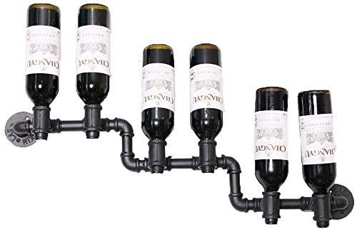 JJ0226 Artículos para el hogar Rack de vino 5 botellas Inserción invertida Pared Cuelga Botellas de vino Tenedor de vino Hierro forjado Metal Tubería de agua Estante de vino Pantalla decorativa Muestr