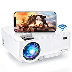 commercial Mini projector TOPVISION 4000LUX Outdoor cinema projector with smartphone screen synchronization, … iphone movie projector