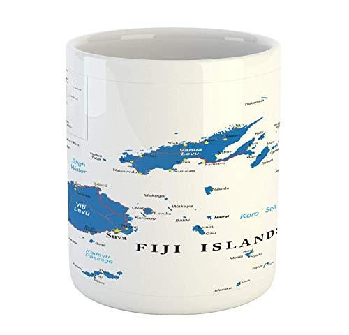 Mapeo de tazas Fiji con nombres escritos diseño geográfico taza de café de cerámica taza para bebidas de té de agua 11 oz cobalto blanco
