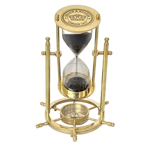 Brass Sand Timer Hourglass with Wheel Compass Base & Hanging Collectible Gift revolving (Polished Black Sand)