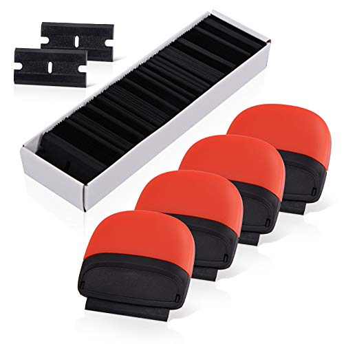 EHDIS 4PCS Razor Blade Scraper Tool With 100PCS Double-Edged Plastic Blades for Removing Adhesive Labels Stickers Decals