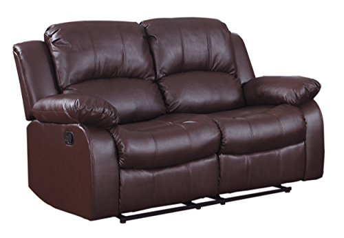 Homelegance Resonance 60' Bonded Leather Double Reclining Loveseat, Brown