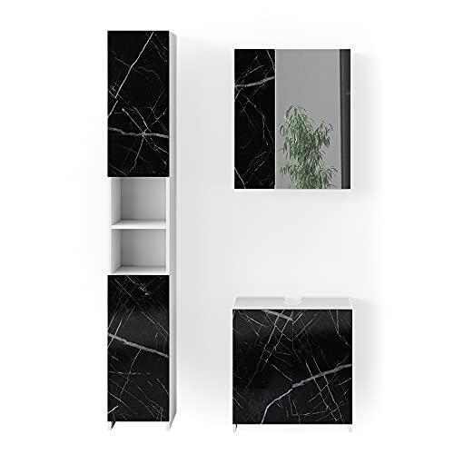 Vicco Badmöbel Set Waschbeckenunterschrank Spiegelschrank Nero Marmoroptik (Set3)