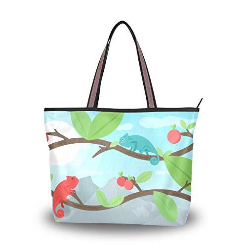 Eslifey Chamäleon mit Kirsche Damen Handtaschen Schultertaschen für Damen Mädchen Gr. 38, multi