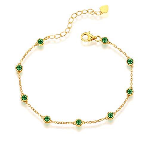 Beydodo Pulsera Mujer de Oro Verde,Pulsera Mujer Oro Amarillo 18 Kilates Cadena de Rolo con Redondo Esmeralda Verde 1.09ct Longitud 16cm + 2cm