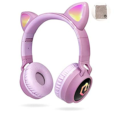 PowerLocus Wireless Bluetooth Headphones for Kids, Kid Headphone Over-Ear with LED Lights, Foldable Headphones with Microphone,Volume Limited,Wireless and Wired Headphone for Phones,Tablets,PC,Laptops from Powerlocus