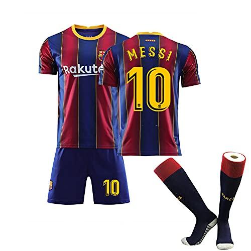 KYYK 2020-2021, Barcelona # 10, Jersey de Messi y Pantalones Cortos con Calcetines Niños y Camisas de Manga Juvenil Jersey de Manga Corta para el Entrenamiento de fútbol XS