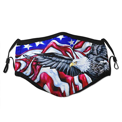 WLYDYS American Flag and Eagle Halloween Adult Dustproof Protective Masks Face Mask Scarf Mask Mouth Mask Mouth Cover Face Dust Mask Camping/Outdoor Washable and Reusable Waterpro for Women and Men