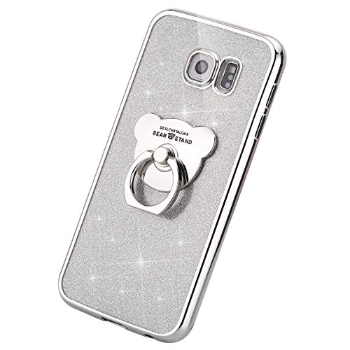 MoreChioce kompatibel mit Galaxy S6 Hülle,kompatibel mit Galaxy S6 Hülle, Silber Glitzer Bling Diamant Durchsichtig Weich Silikon Handyhülle Stoßfest Kratzfeste Schutzhülle mit Ring,EINWEG