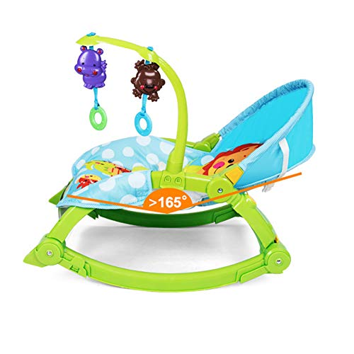 Portable Crib, Multi-functional Baby Cradle, Sleeping Bed for Newborns, Easy to Clean/easy to Install, Foldable Portable Baby Rocking Chair with Toy Pole, Rotatable (0-3 Years Old)