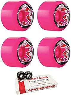OJ Wheels 61mm Christian Hosoi Rocket Pink Re-Issue Skateboard Wheels - 97a with Bones Bearings - 8mm Bones Swiss Skateboard Bearings (8) Pack - Bundle of 2 Items