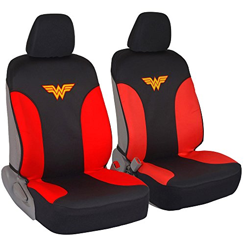 BDK DC Comics Wonder Woman Car Seat Covers - 100% Waterproof Front Pair Gray Black Fit Cover - Side Airbag Safe Protection for Car SUV Van Truck (WBSC1911)
