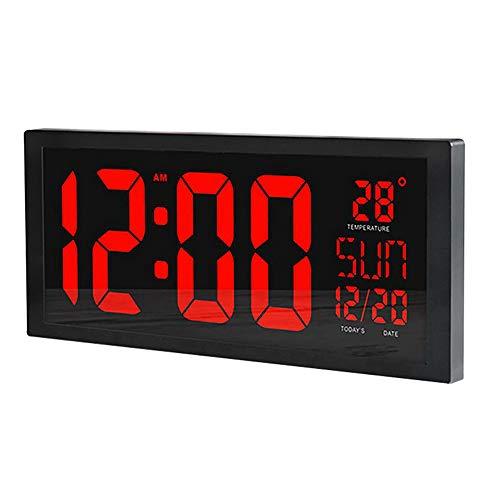 One plus one Reloj De Pared con Cronómetro Digital, Temporizador De Cronómetro, Gimnasio Crosstraining LED Reloj, Reloj De Calendario Digital, Termómetro para Gimnasio para El Hogar.