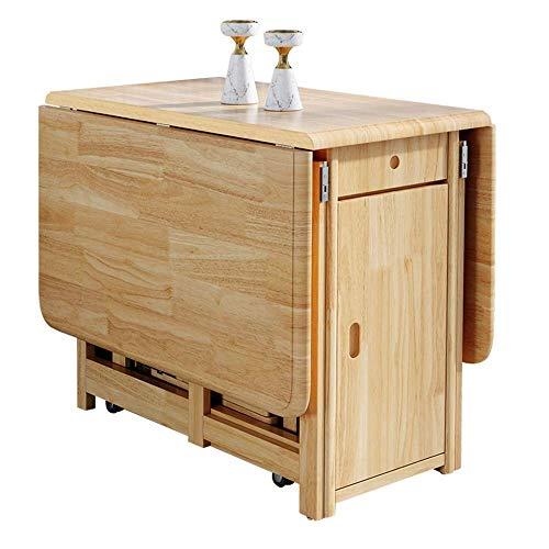 Einfache und Kreative Dekoration Möbel Klapp Esstisch Drop Leaf Ausziehbarer Multifunktionstisch Erweiterbarer Tisch mit 2 Lagerregalen und 4 Rädern, Y-Z, Kräftiges Holz, 75 x 130 x 87 cm