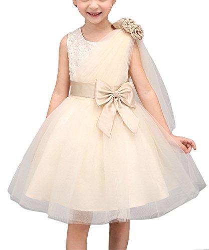 Happy Cherry Ragazza Bambino Vestito Matrimonio Compleanno Abiti di Principessa con Cintura Papillon Colore Champagne 110 cm (3-4 Anni)