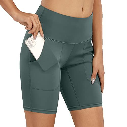SotRong - Pantalones cortos de correr para mujer con bolsillos para el teléfono, cintura alta, yoga, entrenamiento, fitness, ciclismo, jogging