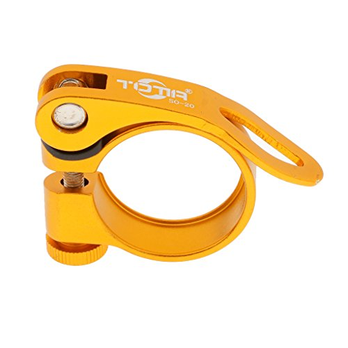MagiDeal Abrazadera para tija de sillín de bicicleta para tubo de sillín de bicicleta, cierre rápido, 31,8 mm/34,9 mm, dorado, 34,9 mm