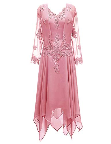 Mother of The Bride Dress V Neck Mother Dress Ruffle Evening Gown Dusty Rose 12 (Apparel)
