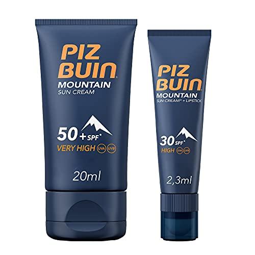 Piz Buin Mountain Combinación Crema Facial Con Protección Spf 50 + Stick Labial Spf30, Protección Para Deportes De Invierno, 22, 3 Ml