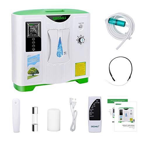 Concentrador de oxígeno, 90% Alta Pureza 2-8L / min Generador de oxígeno de flujo O2 Hogar inteligente LED portátil con control remoto para uso doméstico y de viaje en automóvil, DE-2A
