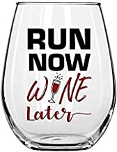 Run Now Wine Later 15oz Stemless Wine Glass with Funny Sayings by Momstir - Unique Novelty for Runners, Athletes, Wine Lovers