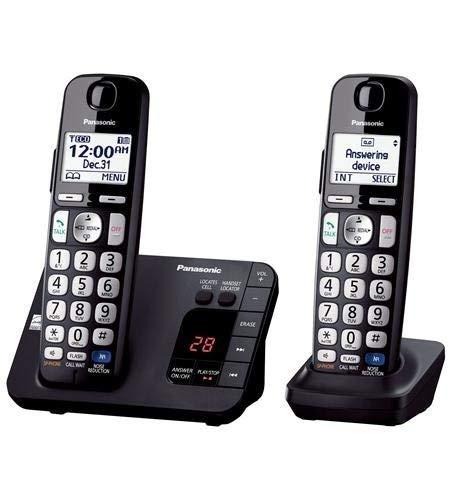 Panasonic KX-TGE232B DECT 6.0 Expandable Digital Cordless Answering System, 2 Handsets, Black (Renewed)