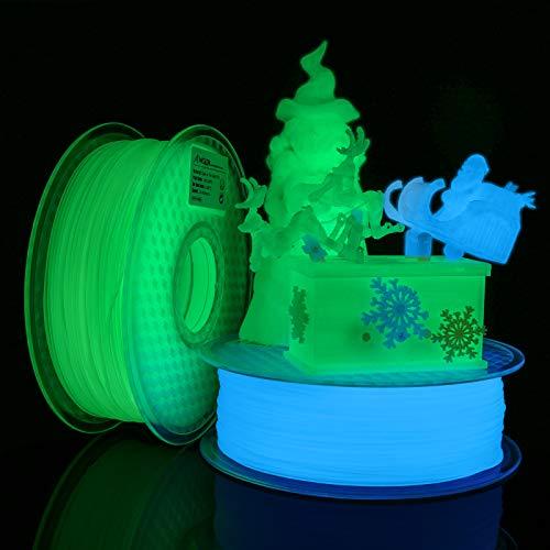 AMOLEN Filamento PLA 1.75mm, Filamento de Glow in the Dark Verde y Azul para Impresora 3D, 1KG